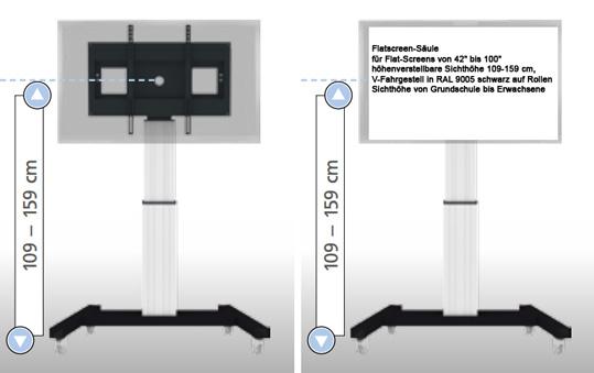 flatscreenwagen bildschirmwagen f r flatscreen medienwagen f r flat screens xl. Black Bedroom Furniture Sets. Home Design Ideas